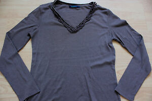 BODEN  brown cotton  long sleeve top  ruffel  trim size 12