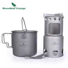 Outdoor Wood Stove Pot Titanium Camping Folding Stove Pot Lightweight Burner Cup