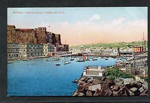 C1910 View - Santa Lucia e Castel de l'Ovo, Naples, Italy.