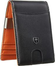 Mens Bifold Wallet RFID Blocking with Money Clip and Credit Card Holder