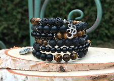Memory Wire Armband Horusauge Om Tigerauge Onyx Lavaperlen Mala Armband