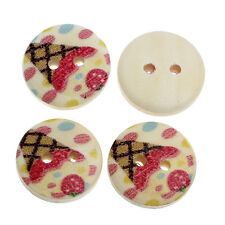 SALE Bulk Buy 40 x Ice Cream Cone Design Wooden Buttons 15mm FREE P&P