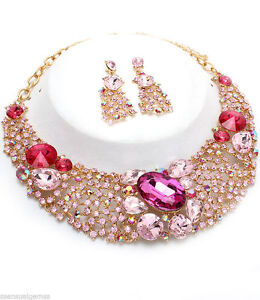New Pink Crystal Necklace & Earrings Gold Plated Special Occasion Choker Women