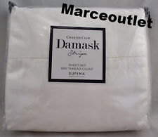 charter club damask stripe 550 thread count queen fitted sheet u0026 cases white