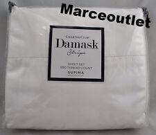 Charter Club Damask Stripe 550 Thread Count KING EXTRA DEEP Sheet Set White