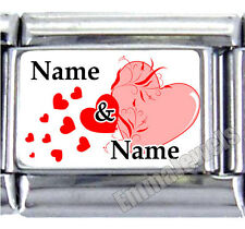 New Red Pink Hearts Anniversary Custom Names Info 9mm Italian Photo Charm