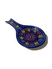 Spoon Rest Handmade in Turkey Ceramic Pottery Blue Orange Yellow Brand New