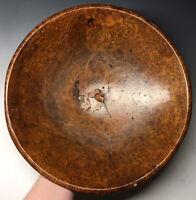 Antique Primitive LARGE American Hand Carved Burl Wood Burlwood Bowl New England
