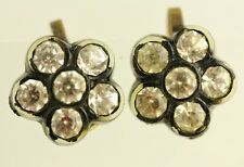 VINTAGE CELLULOID RHINESTONE EARRINGS GREAT SHAPE DESIGN J7904