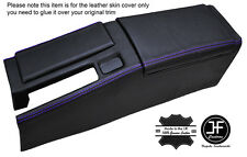 PURPLE STICH CENTRE CONSOLE & ARMREST LEATHER COVERS FOR HONDA CRX DEL SOL 92-98