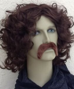 BROWN WAVY MIDDLE  PARTING STYLE FANCY DRESS WIG & DROOP SELF ADHESIVE MOUSTACHE