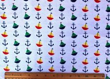 SNUGGLE FLANNEL *MINI SAILBOATS *ANCHORS *DOTS* on White*100% Cotton Fabric BTY