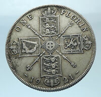 1921 United Kingdom Great Britain GEORGE V Silver Florin 2 Shillings Coin i77865