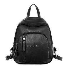 Chic Women Girl PU Leather Mini Preppy Black Backpack Casual School Shoulder Bag