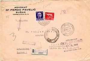 ITALIAN OCC. SUSSAK 1941- EXPRESS REGISTERED COVER TO LJUBLJANA