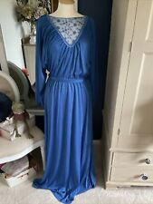VINTAGE SIXTH SENSE 1970's BLUE FULL LENGTH DRESS SIZE 42 APPROX SIZE 14/16...