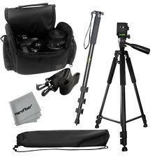 """Pro 60"""" tripod + 72"""" Monopod + Deluxe SLR Camera Case f/Nikon D3100 D3200 D3300"""