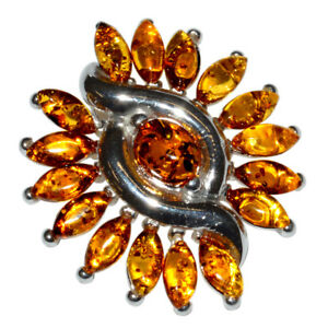 8.5g Authentic Baltic Amber 925 Sterling Silver Pendant Jewelry N-A326A