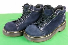 DR. MARTENS 8542 DESIGNER BLUE LEATHER SUEDE PLATFORM BOOTS SHOES Sz 6 UK 8 US