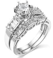 2.75 Ct Round Cut Engagement Wedding Ring Set Real 14K White Gold Matching Band