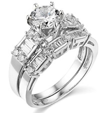 Simulated Diamond Engagement Wedding Ring Sets eBay