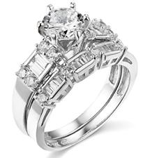 2.75 CT corte redondo conjunto anillo de compromiso de boda Real Oro Blanco 14K banda que empareja
