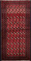 Vintage Geometric Balouch Afghan Oriental Area Rug Hand-knotted Wool Carpet 3x5