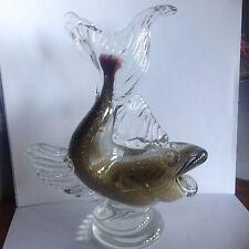 RARE Murano BAROVIER TOSO glass Fish in Reticello and Gold Sommerso
