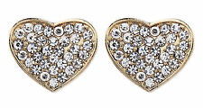 CLIP ON EARRINGS - gold heart earring with crystal diamantes - Whitney
