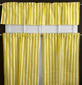 Poly Cotton Striped Print 3-Piece Kitchen Valance/Tier Café Curtain Window Set