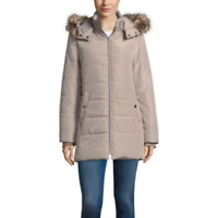 Women's St Johns Bay Heavyweight Puffer Jacket Color:Pearl Taupe Size:L MSRP$180