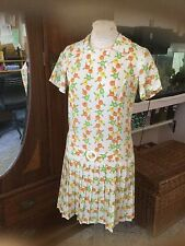 Vintage 60s Mod Mod Twiggy Low Waist Pleated Skirt Scooter Dress S/M~Vgc