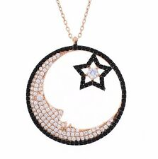 925 Sterling Silver Rose Gold Vermeil Moon Star Necklace