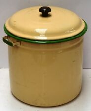 Cream & Green Enamel Dripping Container With Handles