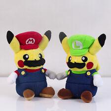 2pcs Set Pokemon Center Pikachu Plush Doll Super Mario Luigi Stuffed Toy Gift