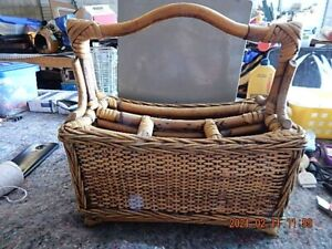 Vintage wicker silverware caddy / basket - handled - 4 compartments