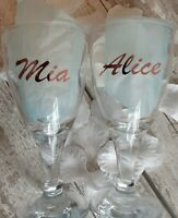 2 X Personalised Name Wedding Party Hen Vinyl Champagne Glass Stickers Rose Gold