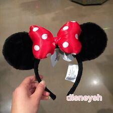 Authentic Disney Parks Minnie Mouse Ear Red Bow and Black Headband NEW