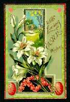 VINTAGE EASTER POSTCARD EASTER LILIES CARD HAS GLOSSY FINISH & GOLD TRIM SAXONY