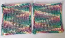 "Knitted Crochet Dishcloths/Washcloths 100% COTTON-9+"" Set of 2 Handmade"