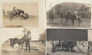 LOT 0206  FOUR EXCEPTIONAL RPPC 'S OF WESTERN COWBOY COWGIRL IMAGES HORSES