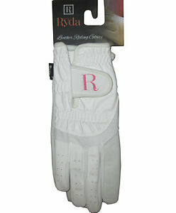 RYDA Ladies Black or White Leather Palm Competition Dressage Gloves Horse Riding
