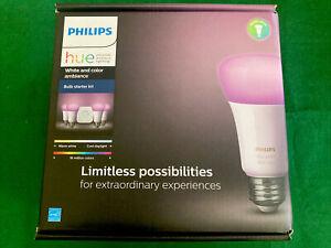 PHILIPS HUE White & Color Ambiance E26 4 Smart Bulbs & Hub STARTER KIT (471960)