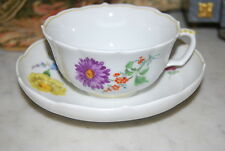 MAGNIFICENT MEISSEN HAND PAINTED VARIE FLOWERS CABINET LARGE COFFEE CUP & SAUCER