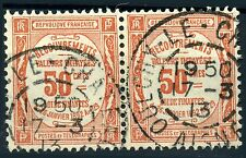 FRANCE RARE PAIRE TIMBRE TAXE N° 47 BELLE OBLITERATION OULCHY LE CHATEAU