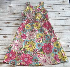 Hanna Andersson Womens 12 Floral Pink Blue Yellow Sleeveless Tea Dress Summer