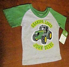 John Deere boys gray T-shirt green short sleeves /'GRANDPA LOVES JOHN DEERE/'/'