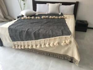 Cotton Moroccan blanket, pom pom blanket,bed spread,hand knotted for chair sofa