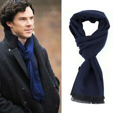 Sherlock Holme Cosplay Scarf Soft Navy Blue Tassel Scarves Muffler Neckerchief