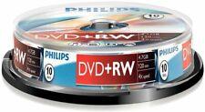 10 Philips DVD+RW RE-WRITABLE DVD's 10 Pack Blank DVD Discs
